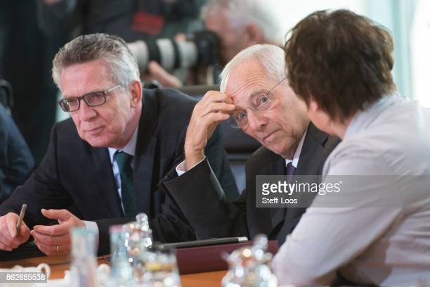 German Interior Minister Thomas de Maiziere German Finance Minister Wolfgang Schaeuble and German Economy Minister Brigitte Zypries attend the weekly...
