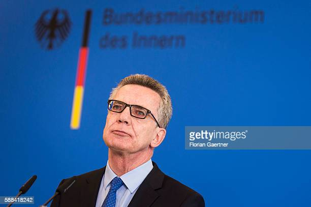 German Interior Minister Thomas de Maiziere gives a press statement about new measures against the terror threat in Germany on August 11 2016 in...