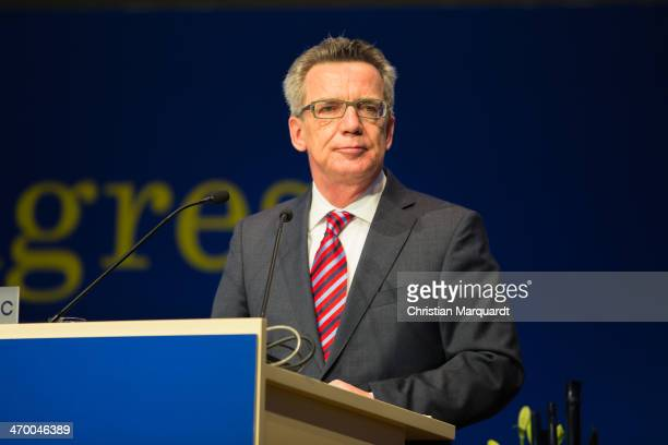 German Interior Minister Thomas de Maiziere gives a speech during the 17th European Police Congress on February 18 2014 in Berlin Germany The...