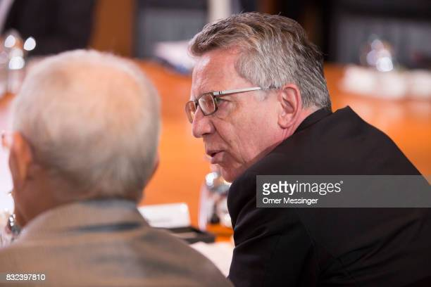 German Interior Minister Thomas de Maiziere is seen attending the weekly government cabinet meeting on August 16 2017 in Berlin Germany Today's is...