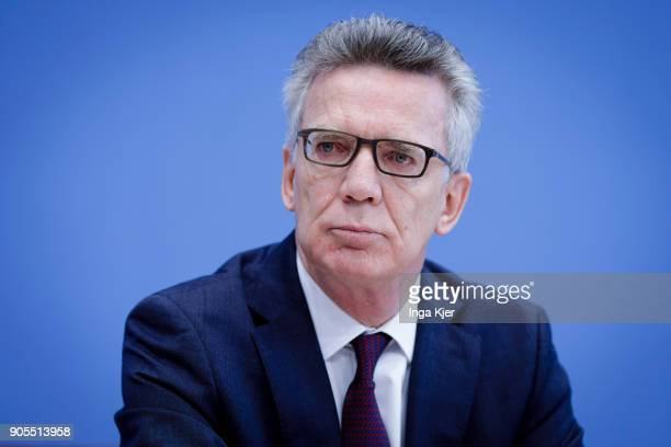 German Interior Minister Thomas de Maiziere joins the federal press conference on January 16 2018 in Berlin Germany
