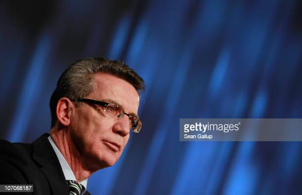 German Interior Minister Thomas de Maiziere speaks at the annual convention of the Labour Union of Police on November 22 2010 in Berlin Germany De...