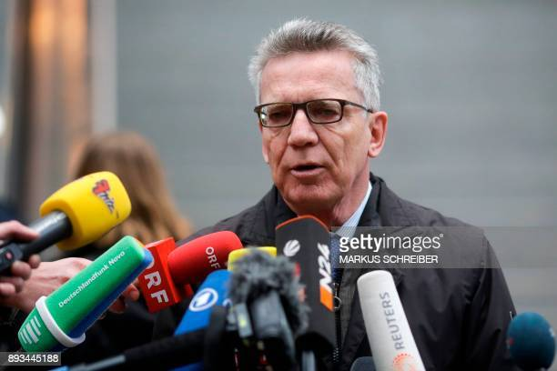 German Interior Minister Thomas de Maiziere speaks to the press after a visit at the Suedkreuz train station where automatic facial recognition...