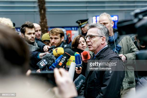 German Interior Minister Thomas de Maiziere talks to journalists during his visit to a project for automatic recognition of faces at trainstation...