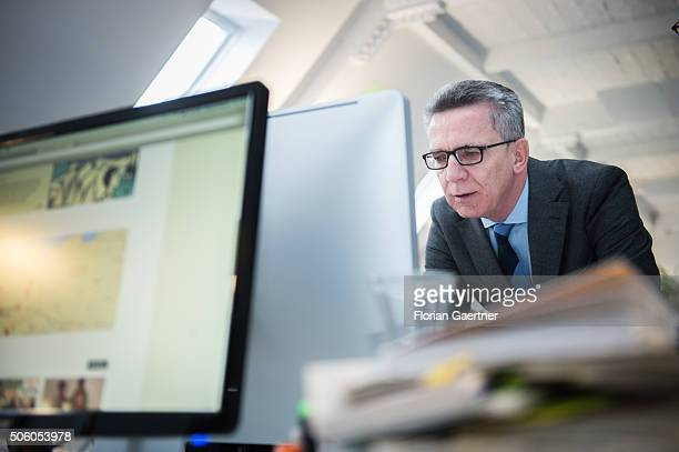 German Interior Minister Thomas de Maiziere visits the digital platform betterplaceorg on January 21 2016 in Berlin