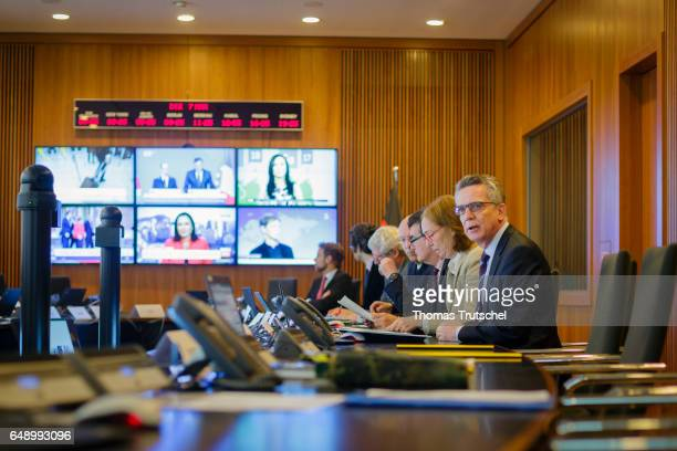 German Interior Minister Thomas de Maiziere visits the situation room at the Ministry of Interior during the current GETEX joint exercises between...