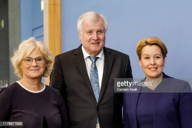 German Interiors Minister Horst Seehofer Justice Minister Christine Lambrecht and Family Minister Franziska Giffey arrive to present new measures to...