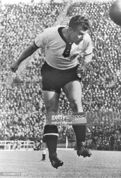 German international football player Hans Schaefer 1 FC Cologne's striker in action during a match against Chile at the 1962 FIFA World Cup in Chile...