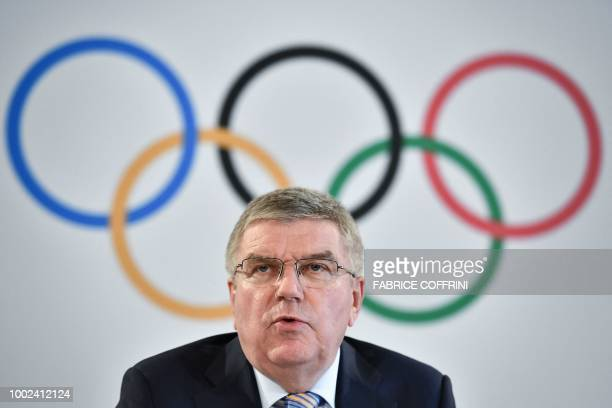 German International Olympic Committee President Thomas Bach gives a press conference closing an IOC executive board meeting on July 20 2018 in...