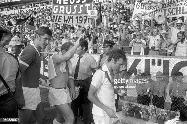 German international player Uwe Seeler is waving after beating Peru 31 Team coach Helmut Schoen's team was successful during the 1970 FIFA World Cup...