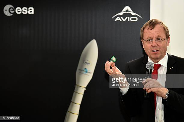 German JohannDietrich Worner director general of the European Space Agency ESA speaks during a press conference on the future of space launchers at...