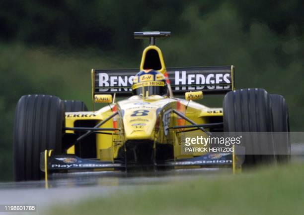 German JordanMugenHonda driver HeinzHarald Frentzen speeds his car during the third free practice session in Spielberg 24 July 1999 on the eve of the...