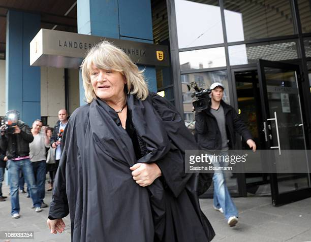German journalist Alice Schwarzer leaves the court on day 27 after the trial against TV host and weather expert Joerg Kachelmann at the district...