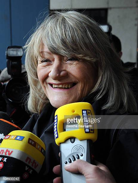 German journalist Alice Schwarzer speaks to media on day 27 after the trial against TV host and weather expert Joerg Kachelmann at the district court...
