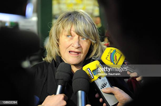 German journalist Alice Schwarzer speaks to media on day 27 of the trial against tv host and weather expert Joerg Kachelmann at the district court...