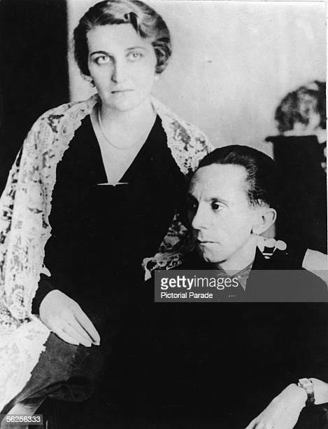German journalist and Nazi Minister of Propaganda Joseph Goebbels and his wife Magda pose for a portrait sitting down 1940s