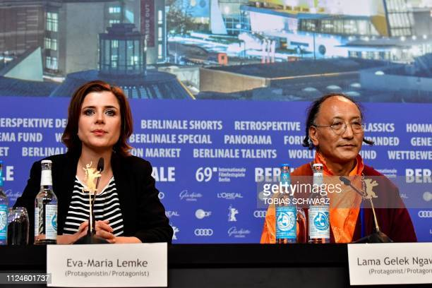 German journalist and protagonist EvaMaria Lemke and protagonist Lama Gelek Ngawang attend a press conference for the film Der Atem screened in the...