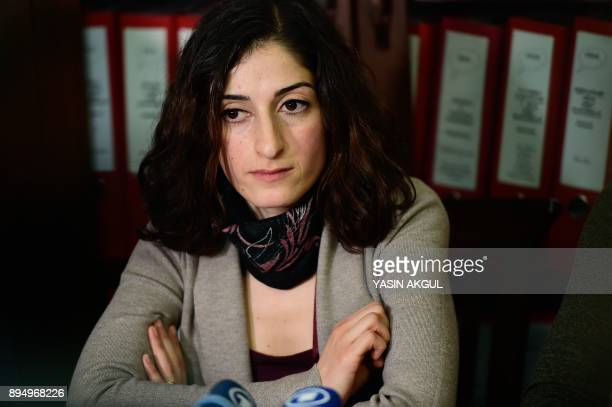 German journalist and translator Mesale Tolu speaks to the media after being released under judicial control in Istanbul on December 18 after being...