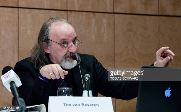 German journalist specialized in civil aviation Tim van Beveren speaks during a press conference held by Guenter Lubitz father of Andreas Lubitz a...