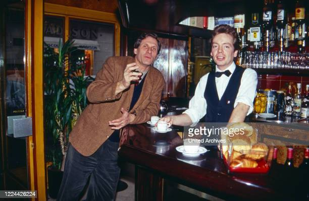 German journalist Ulrich Wickert at a bistro as editor in chief of WDR Paris studio France 1991
