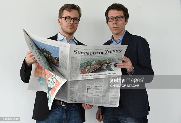 German journalists Frederik Obermaier and Bastian Obermayer coauthors of the socalled 'Panama Papers' investigation pose on April 7 2016 in Munich...