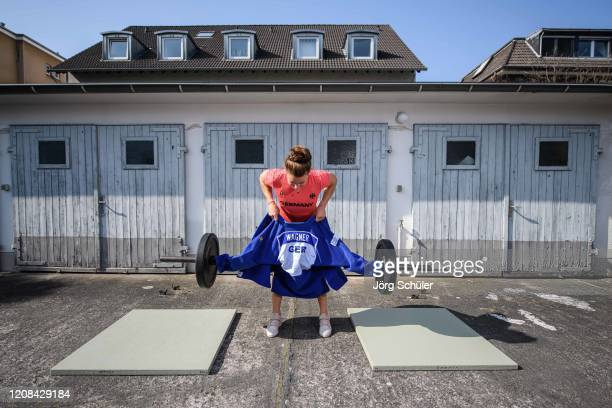 German Judoka AnnaMaria Wagner training in the backyard of her flat on March 27 2020 in Cologne Germany As the olympic base in Cologne is closed her...