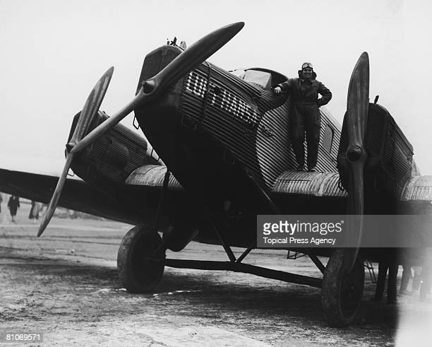German Junkers G 24 aircraft operated by Lufthansa, at Croydon Airport, London, on arrival from Berlin, 16th October 1926. Standing on the wing is...