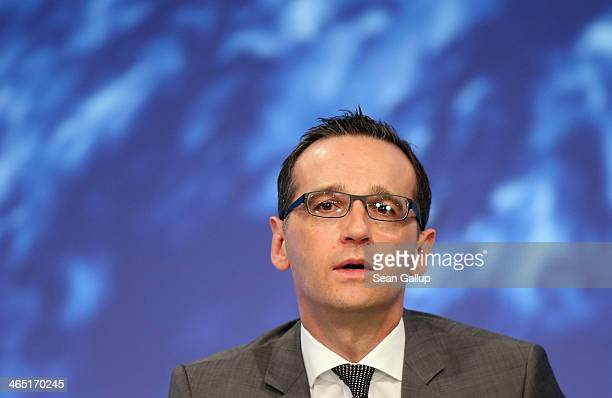 German Justice Minister and member of the German Social Democrats Heiko Maas attends a federal congress of the SPD on January 26 2014 in Berlin...