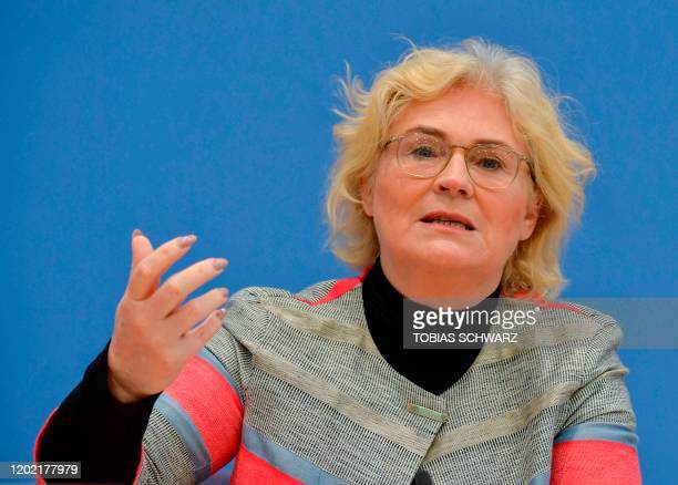 German Justice Minister Christine Lambrecht attends a press conference on February 21 2020 in Berlin after the deadly mass shooting born of racist...