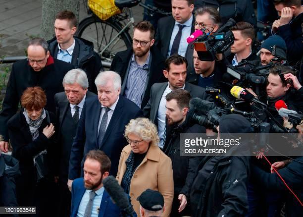 German Justice Minister Christine Lambrecht German Interior Minister Horst Seehofer and Hesse's State Premier Volker Bouffier and Hesse state...