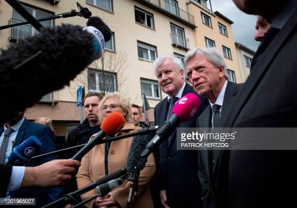 German Justice Minister Christine Lambrecht German Interior Minister Horst Seehofer and Hesse's State Premier Volker Bouffier talk to medias after...