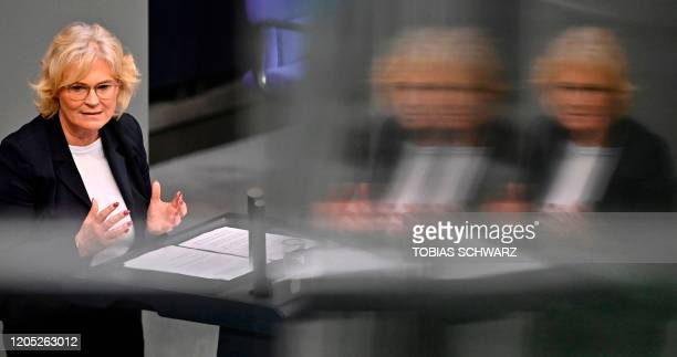 German Justice Minister Christine Lambrecht speaks during a session at the German Bundestag in Berlin on March 5 2020