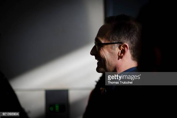 German Justice Minister Heiko Maas arrives for a faction meeting at Bundestag on February 20 2018 in Berlin Germany