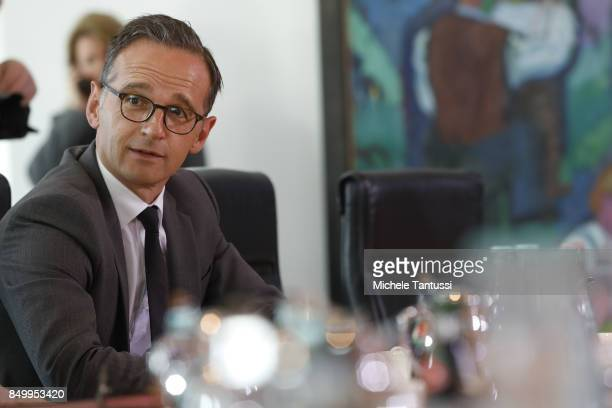 German Justice Minister Heiko Maas arrives for the last weekly government cabinet meeting before German federal elections on September 20 2017 in...