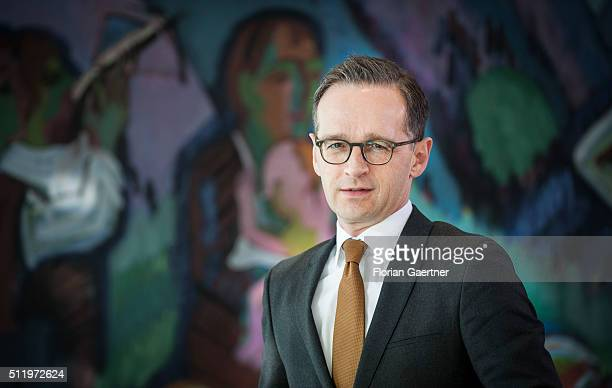 German Justice Minister Heiko Maas arrives for the weekly cabinet meeting at the chancellery on February 24 2016 in Berlin Germany