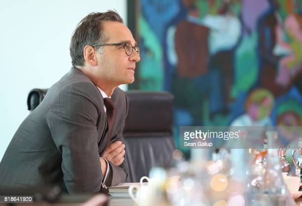 German Justice Minister Heiko Maas arrives for the weekly German government cabinet meeting at the Chancellery on July 19 2017 in Berlin Germany...