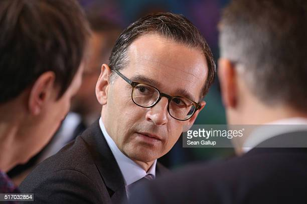 German Justice Minister Heiko Maas arrives for the weekly government cabinet meeting on March 23 2016 in Berlin Germany Yesterday's terror attacks in...