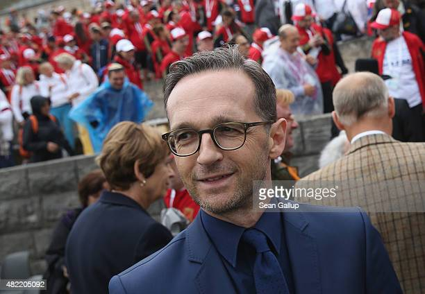 German Justice Minister Heiko Maas attends a memorial event prior to the opening of the European Maccabi Games at the Olympiastadion on July 28 2015...