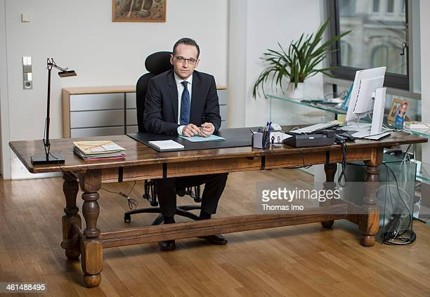German Justice Minister Heiko Maas SPD poses at his desk for a photograph on January 09 2014 in Berlin Germany