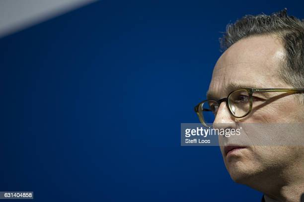 German Justice Minister Heiko Maas speaks to the media following talks over new antiterror measures on January 10 2017 in Berlin Germany The measures...
