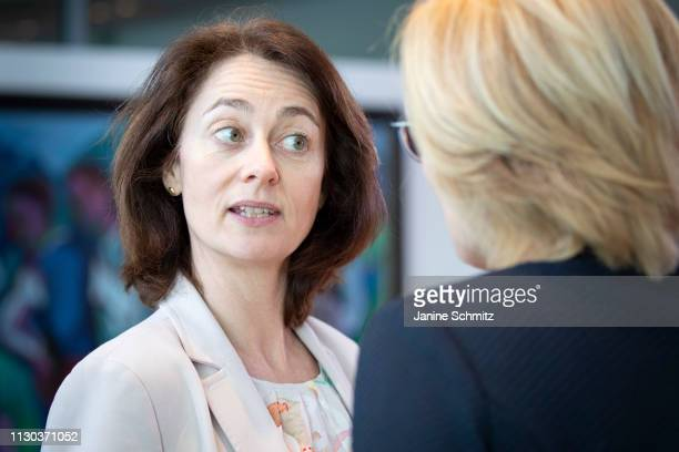 German Justice Minister Katarina Barley and German Agriculture Minister Julia Kloeckner during a conversation before the weekly german government...
