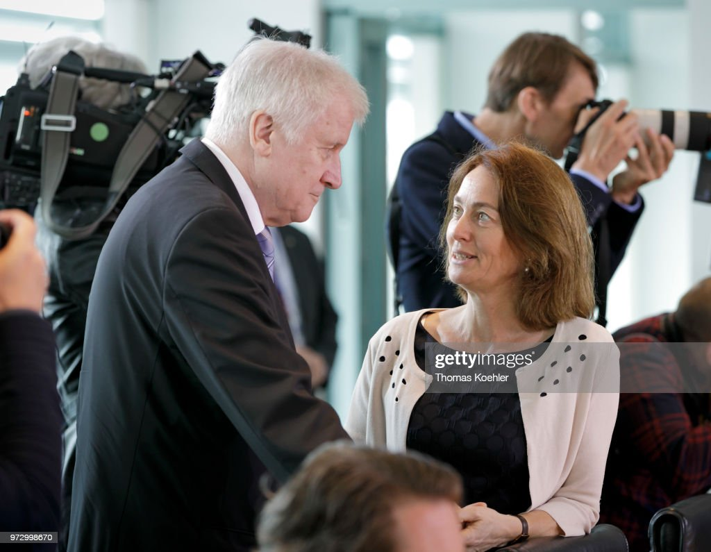 German Justice Minister Katarina Barley (R) and Interior Minister Horst Seehofer (L) arrive for the Weekly Government Cabinet Meeting on June 13, 2018 in Berlin, Germany.