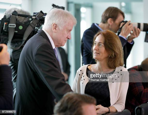 German Justice Minister Katarina Barley and Interior Minister Horst Seehofer arrive for the Weekly Government Cabinet Meeting on June 13 2018 in...