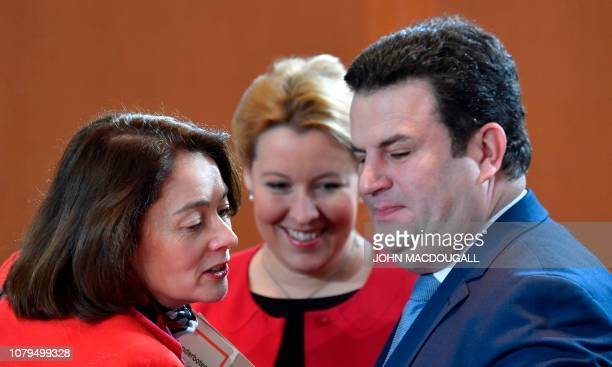 German Justice Minister Katarina Barley German Labour Minister Hubertus Heil and German Family Minister Franziska Giffey chat during a weekly meeting...