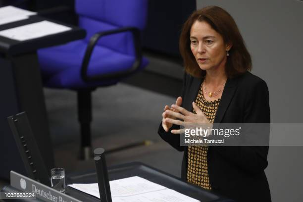 German Justice Minister Katarina Barley speaks as she reports on inland justice politics during a session of the German Parliament or Bundestag on...