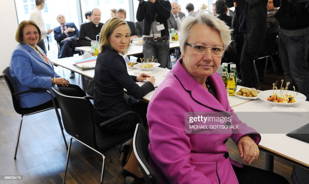 German Justice Minister Sabine Leutheusser-Schnarrenberger, German Family Minister Kristina Schroeder and German Education and Research Minister Annette Schavan look on at the Family Ministry in Berlin on April 23, 2010, ahead of the round table against child abuse. Round table talks on the child abuse scandal engulfing the Roman Catholic Church in Pope Benedict XVI's native Germany began on April 23 amid criticism that victims are being excluded.