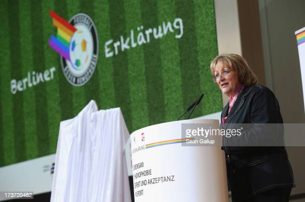 German Justice Minister Sabine LeutheusserSchnarrenberger speaks before presenting the Berlin Declaration in German called the Berliner Erklaerung in...