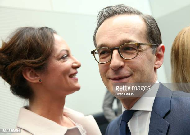 German Justine Minister Heiko Maas and his girlfriend actress Natalia Woerner attend a meeting of the Bundestag faction of the German Social...