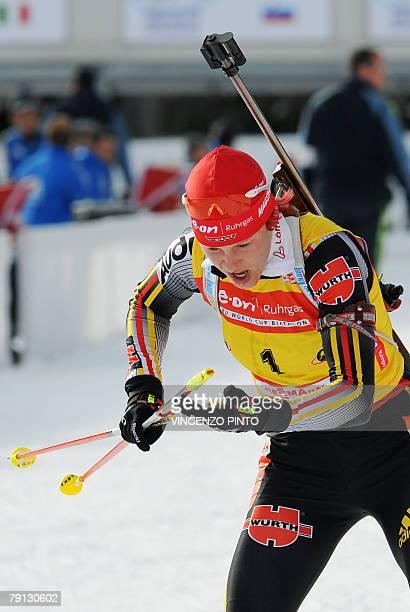 German Kati Wilhelm leaves the shooting area during the Women World Cup Biathlon's 125 km mass start 20 January 2008 in Anterselva Henkel won the...