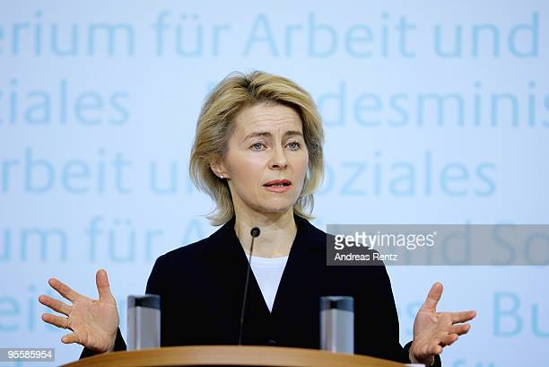 German Labour Minister Ursula von der Leyen addresses a press conference on January 5 2010 in Berlin Germany The German unemployment averaged 78...